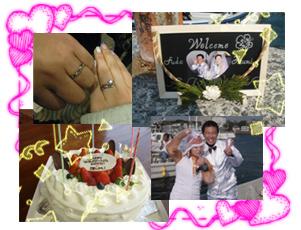 ウエディングドレス、ウエルカムボード、ウエディングケーキ、結婚指輪の写真です